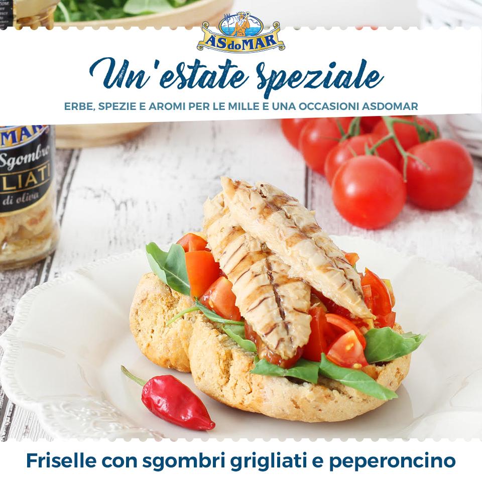 Un'Estate Speziale - Ricetta Friselle con rucola, pomodoro, peperoncino e sgombro grigliato