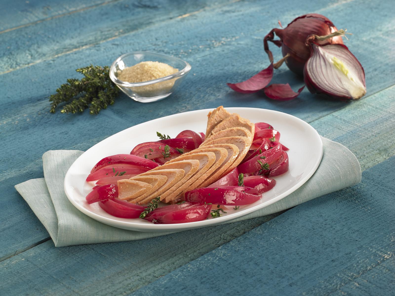 Cuore di tonno e cipolle rosse caramellate
