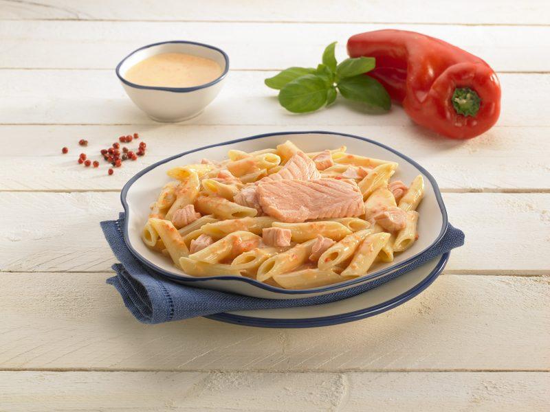 Pasta peperoni e salmone