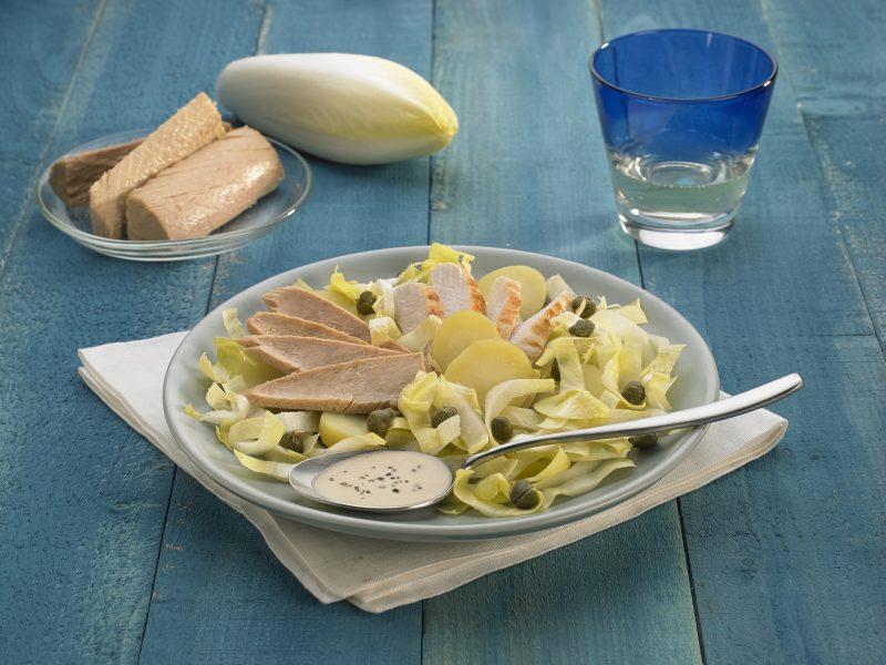 insalata di pollo e capperi e filetto di tonno
